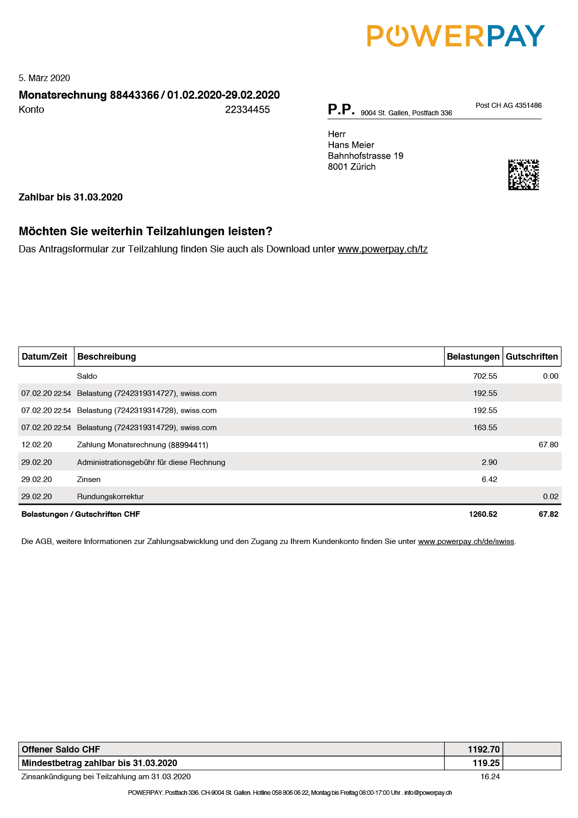 Invoice Front